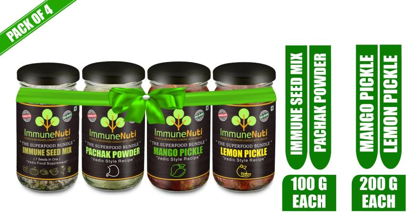 Super Combo Gift Pack of 4 Mango Pickle (200gm), Lemon Pickle (200gm), Immune Seed Mix (100gm), Pachak Powder (100gm) Combo  (Immune Seed Mix 100 gm,