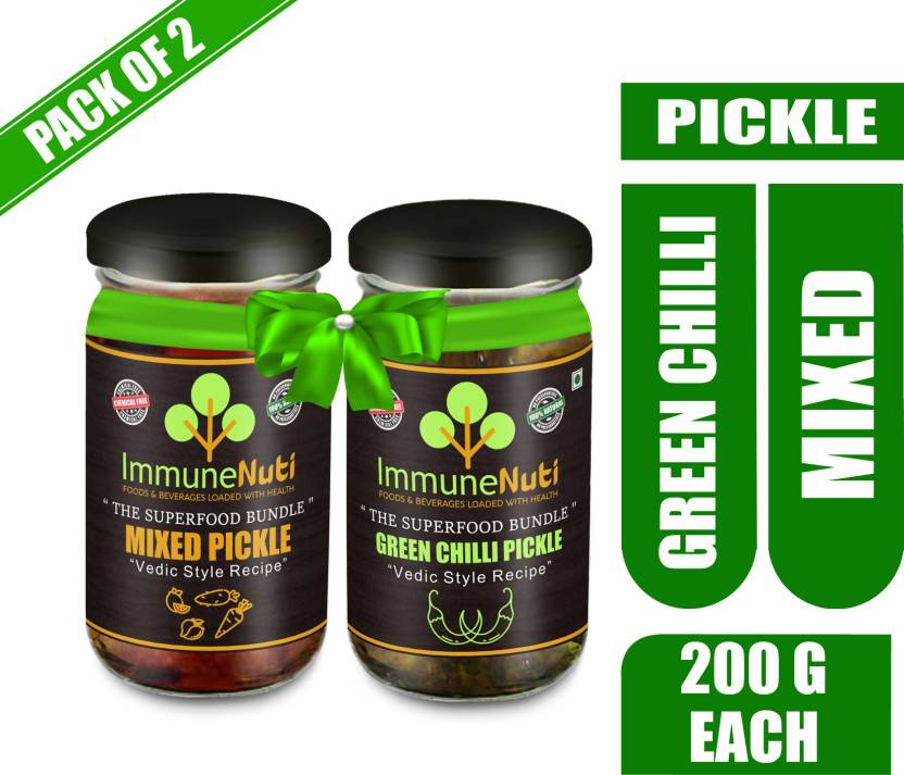 Super Combo Mixed Pickle (200g) and Green Chilli Pickle (200g) with Mixed, Green Chilli Pickle  (400 g, Pack of2)
